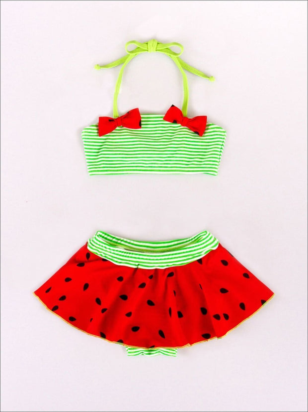 Girls Watermelon Halter Bandeau Skirted Swimsuit with Matching Hat - Girls Two Piece Swimsuit