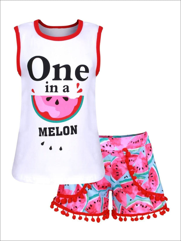 Girls Watermelon One in a Melon Tank & Matching Pom Pom Shorts - Girls Spring Casual Set