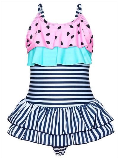 Girls Watermelon Print Striped Ruffled One Piece Swimsuit - Pink / 2T/3T - Girls One Piece Swimsuit