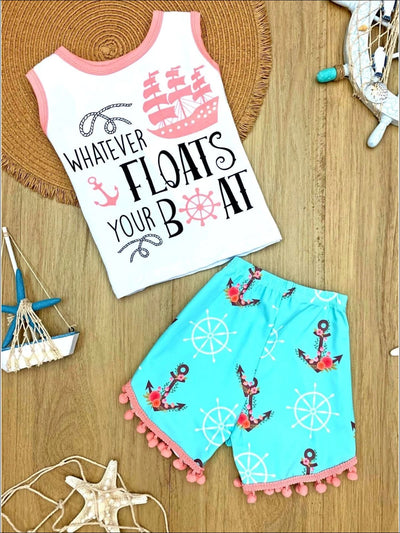 Girls Whatever Floats Your Boat Top & Pom Pom Anchor Shorts Set - Mint / 2T - Girls Spring Casual Set