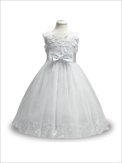 Girls White A-Line Sleeveless Floral Bow Flower Girl & Communion Party Dress - White / 12 - Girls Gown