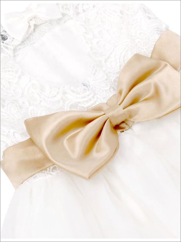 Girls White A-Line Sleeveless Lace Open Back Gold Bow Communion & Flower Girl Party Dress - Girls Gown