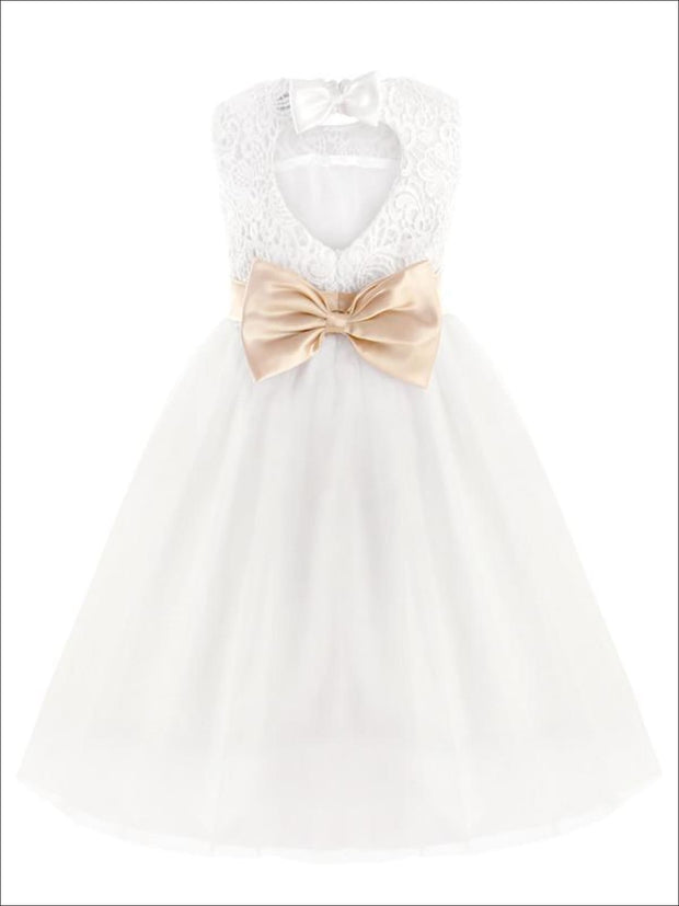 Girls White A-Line Sleeveless Lace Open Back Gold Bow Communion & Flower Girl Party Dress - White / 2T - Girls Gown