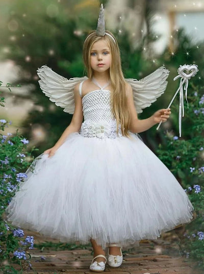 Girls White Angel Unicorn Tutu Halloween Costume - 2T / White - Girls Halloween Costume