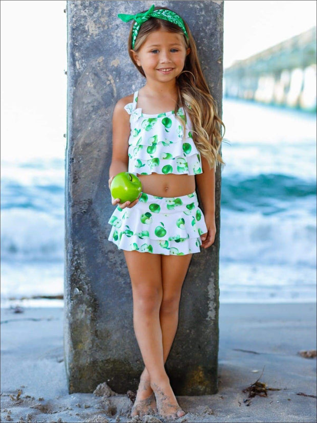Girls White Apple Print Ruffled Top & Skirted Bottom Two Piece Swimsuit - Girls Two Piece Swimsuit
