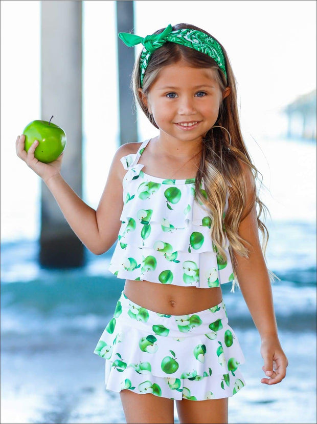 Girls White Apple Print Ruffled Top & Skirted Bottom Two Piece Swimsuit - White / 4T/5Y - Girls Two Piece Swimsuit
