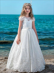 Girls White Beaded Stripped Communion Gown - White / 2T - Girls Gowns