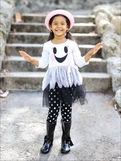 Girls White & Black Long Sleeve Ghost Smiley Face Sequin Tutu Tunic & Polka Dot Leggings Set - Girls Fall Casual Set