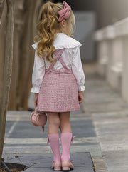 Girls White Blouse With Pink Overall Skirt - Girls Spring Dressy Set