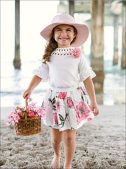 Girls White Boho Sleeve Blouse with Crochet Trim & Floral Skirt Set - Girls Spring Casual Set