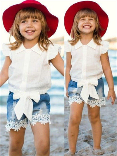 Girls White Button Down Butterfly Sleeve Tie Front Shirt + Denim Short Set - Girls Shorts Set