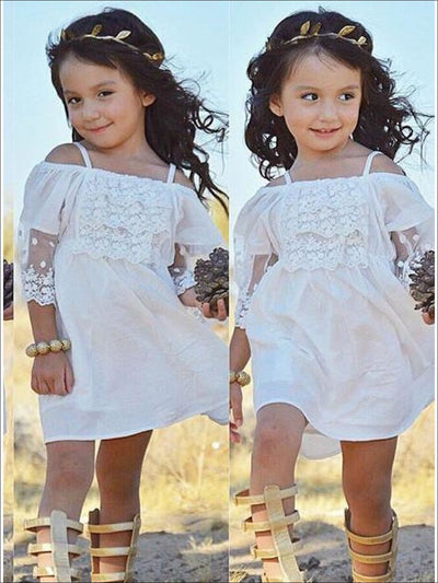 Girls White Cotton And Lace Boho Tunic Dress - Girls Spring Casual Dress