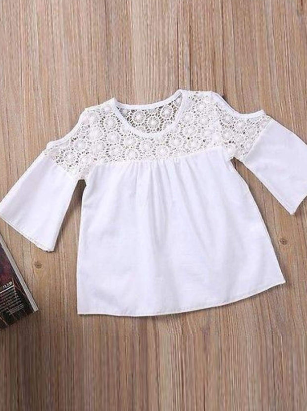 Girls White Crochet Cold Shoulder Blouse & Stretchy Denim Jeans Set - Girls Spring Casual Set