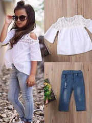 Girls White Crochet Cold Shoulder Blouse & Stretchy Denim Jeans Set - White/Blue / 2T - Girls Spring Casual Set
