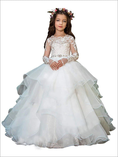 Girls White Embellished Communion Gown - White / 2T - Girls Gowns