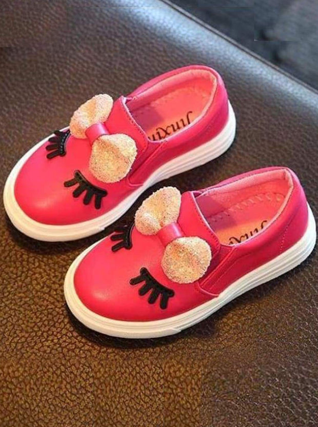 Girls White Eyelash & Bow Slip-On Sneakers - Hot Pink / 6.5 - Girls Loafers