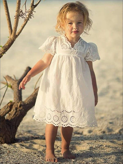 Girls White Eyelet Crochet Trim Flowy Boho Dress - Girls Spring Casual Dress