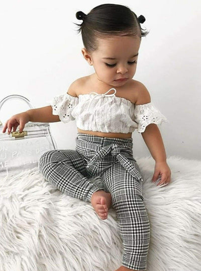Girls White Eyelet Off the Shoulder Top & Plaid Belted Pants Set - Girls Spring Casual Set
