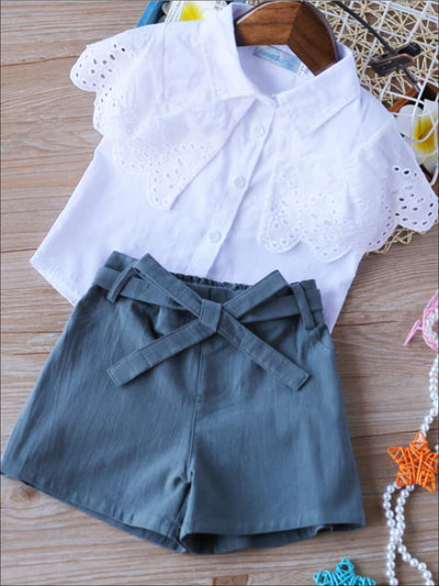Girls White Eyelet Trimmed Blouse & Navy Shorts Set - Girls Spring Casual Set