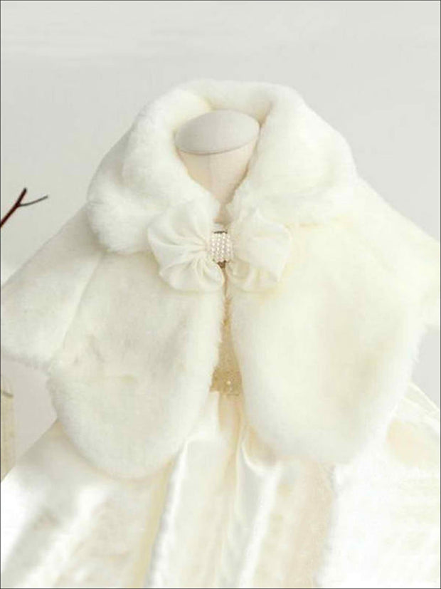 Girls White Faux Fur Bow Applique Princess Cloak/Bolero - Girls Jacket