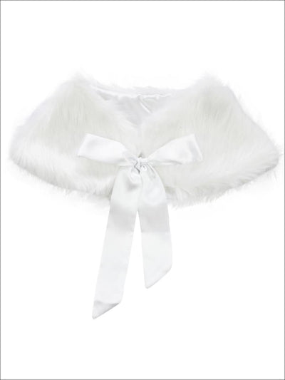 Girls White Faux Fur Princess Cloak/Bolero - Girls Halloween Costume