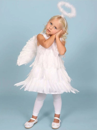 Girls White Feather Angel Halloween Costume Dress - Girls Halloween Costume