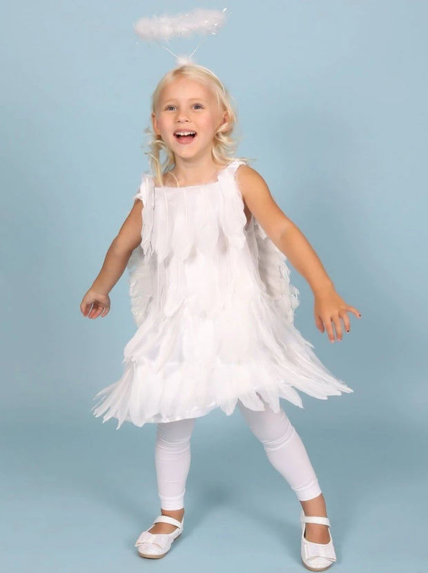 Girls White Feather Angel Halloween Costume Dress - White / 2T - Girls Halloween Costume