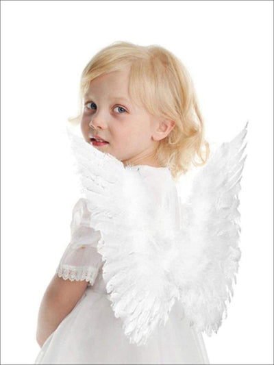 Girls White Feather Angel & Unicorn Wings - White - Girls Halloween Costume