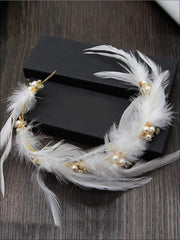 Girls White Feather Pearl Crown Halo Headband - Accessories