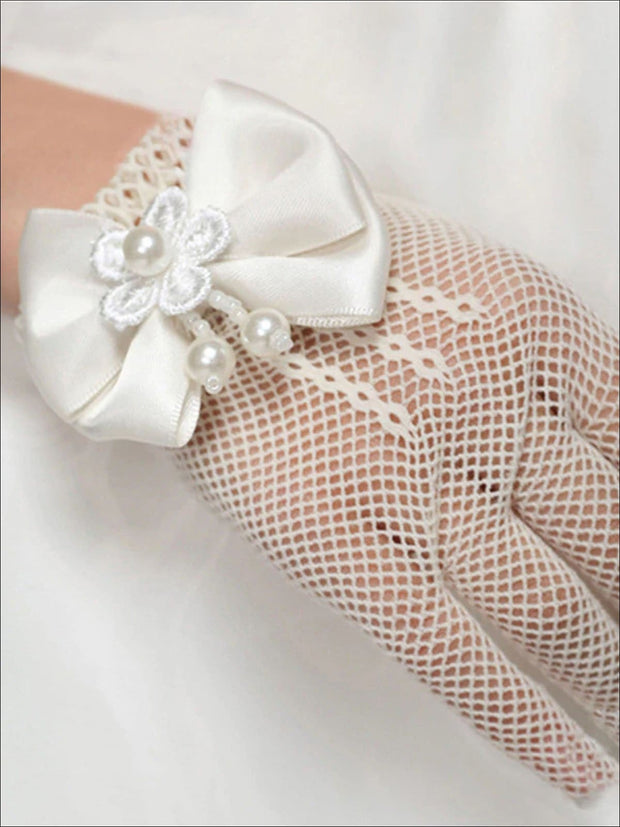 Girls White Fishnet Short Gloves With Bow & Pearl Embellishment - Girls Accessories
