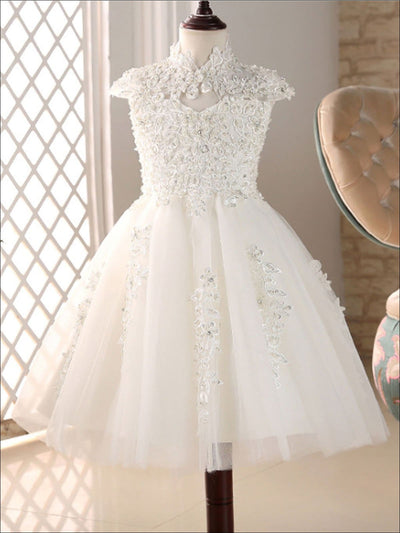 Girls White Floral Communion Gown - Girls Gowns
