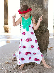 Girls White Floral Side Slit Sleeveless Maxi Dress - Spring Low Stock