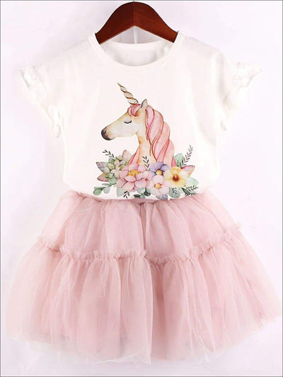 Girls White Floral Unicorn Ruffle Trim Short Sleeve Top & Pink Layered Tutu Skirt Set - White & Pink / 3T - Girls Spring Casual Set