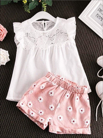 Girls White Flutter Sleeve Floral Top & Pink Floral Print Shorts Set - White & Pink / 2T - Girls Spring Casual Set