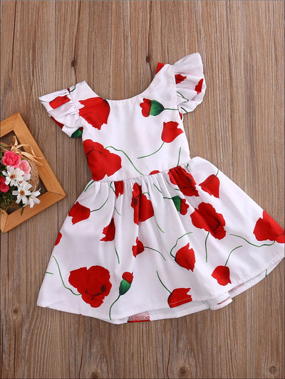 Girls White Flutter Sleeve Tie Back Rose Print Dress - White / 2T - Girls Spring Casual Dress