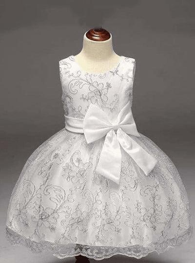 Girls White Gold Embroidery Party Dress with Large Bow - Girls Spring Dressy Dress