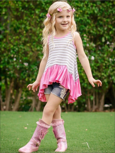 Girls White Gre & Pink Striped Side Tail Ruffle Hem Tunic - Girls Spring Top
