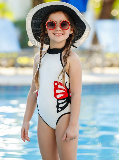 Girls White Halter Butterfly One Piece Swimsuit - Girls One Piece Swimsuit