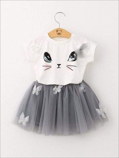 Girls White Kitty Tee & Grey Mesh Butterfly Tutu Set - White/Grey / 2T - Girls Spring Casual Set