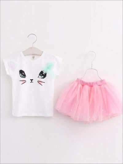 Girls White Kitty Tee & Pink Mesh Tutu Set - Girls Spring Casual Set