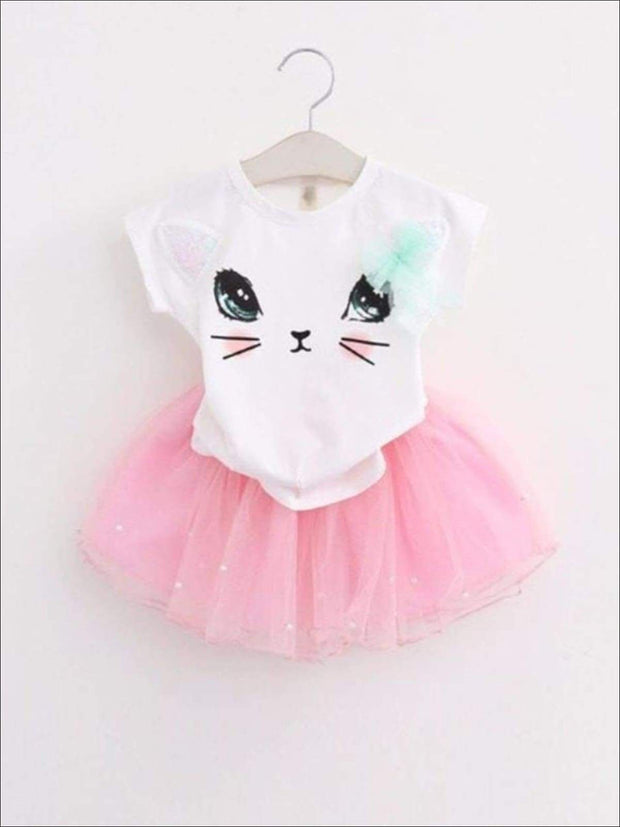 Girls White Kitty Tee & Pink Mesh Tutu Set - white/pink / 2T - Girls Spring Casual Set