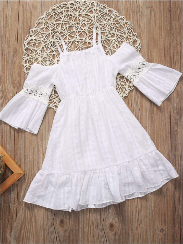 Girls White Lace Boho Off Shoulder Dress with Lace Detail - Girls Spring Casual Dress