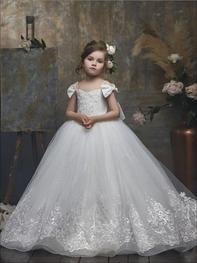 Girls White Lace Bow Strap Communion Gown - white / 2T - Girls Gowns