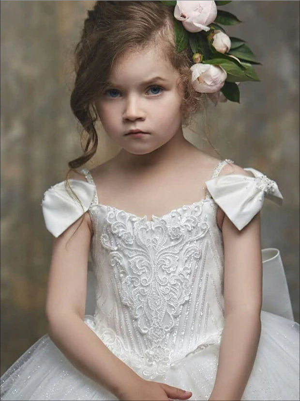 Girls White Lace Bow Strap Communion Gown - Girls Gowns