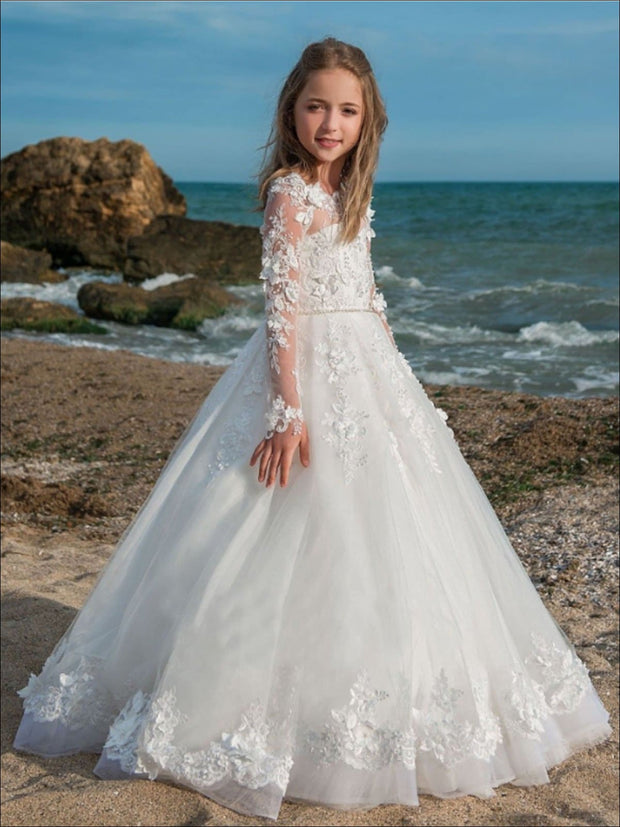 Girls White Lace Communion Gown - White / 2T - Girls Gowns