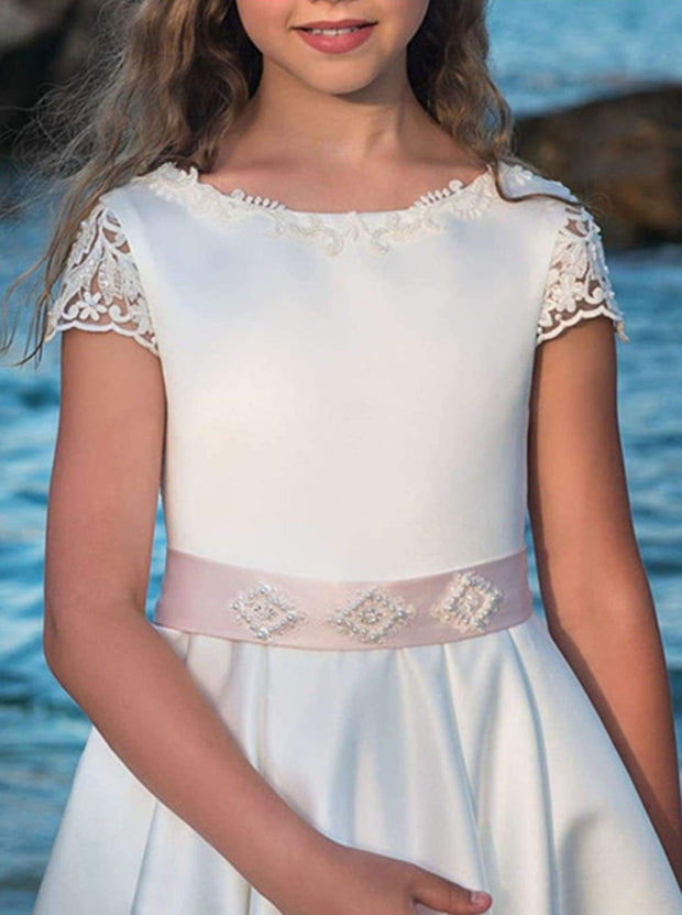Girls White Lace Communion Gown - Girls Gowns