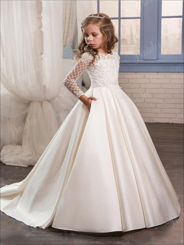Girls White Lace Communion Gown - Ivory / 2T - Girls Gowns