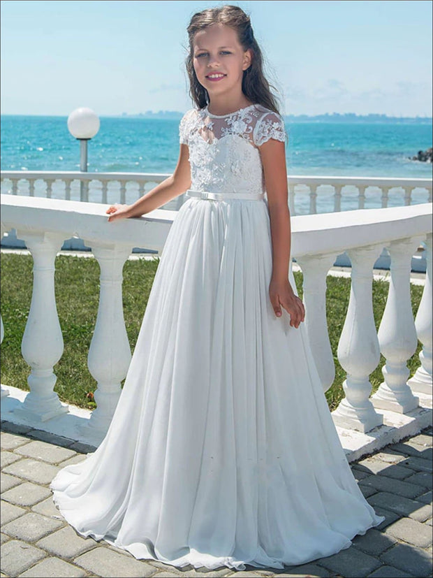 Girls White Lace Communion Gown with Bow - White / 2T - Girls Gowns