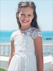 Girls White Lace Communion Gown with Bow - Girls Gowns