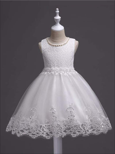 Girls White Lace Embroidered Communion & Flower Girl Tutu Dress - White / 3T - Girls Gown